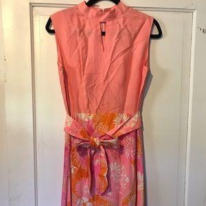 VINTAGE 60s Bright Peach Pink Floral Maxi Dress